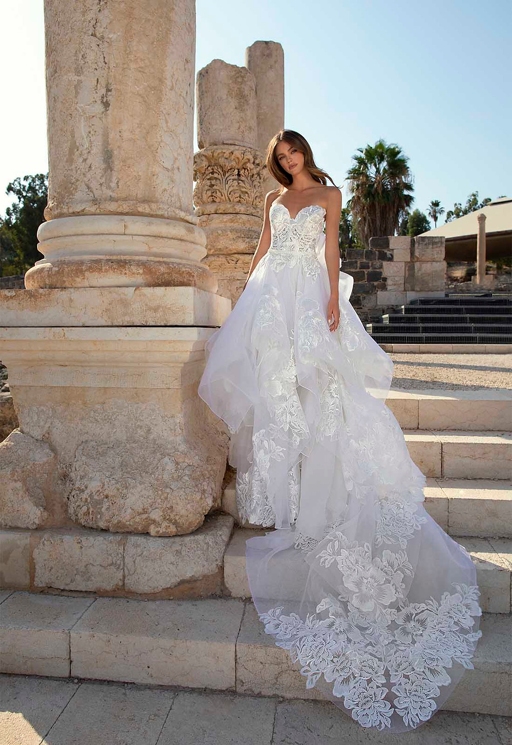 A Pnina Tornai strapless ball gown wedding dress with a layered tulle skirt, lace and a sweetheart neckline