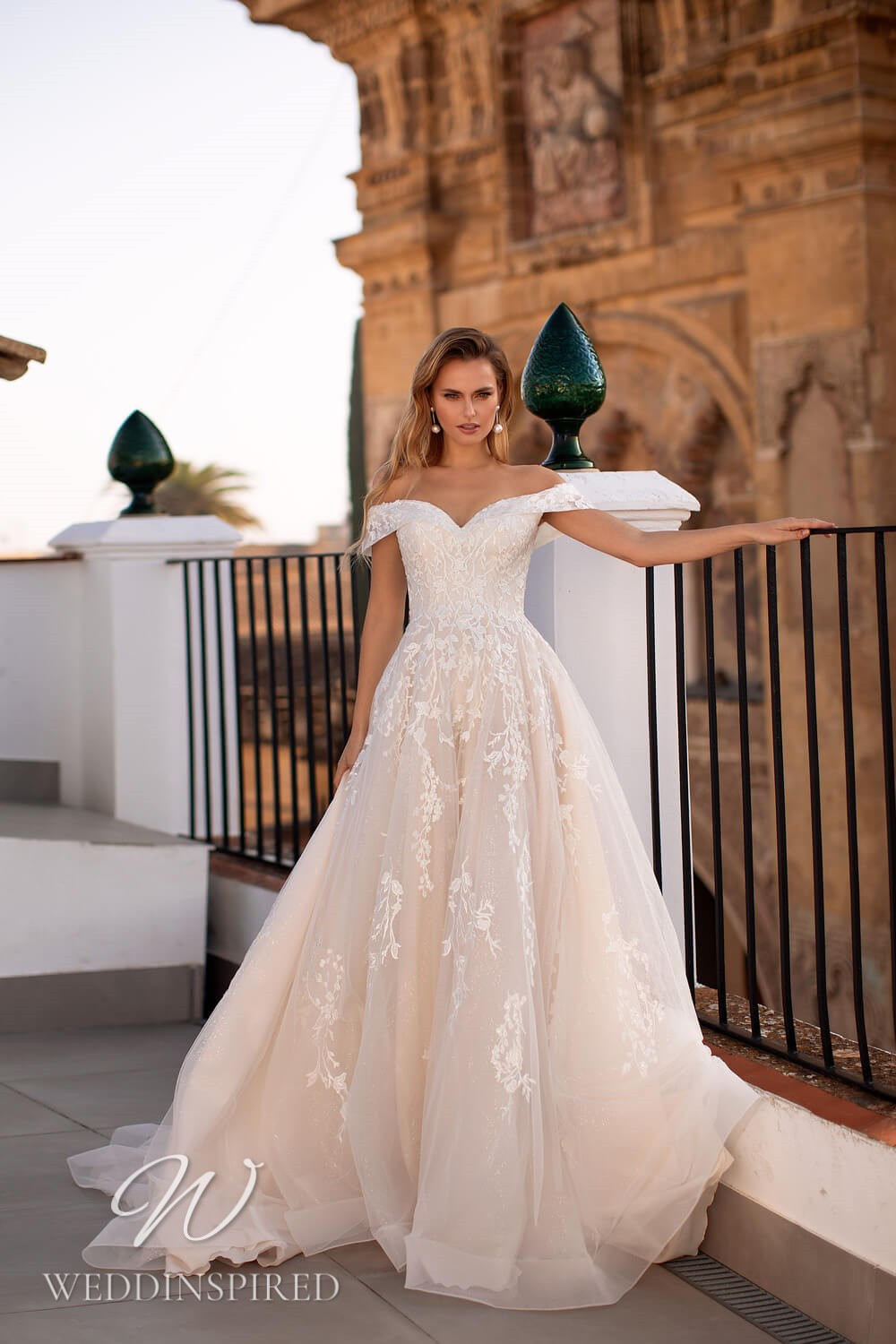 An Essential by Lussano 2021 off the shoulder lace and tulle A-line wedding dress