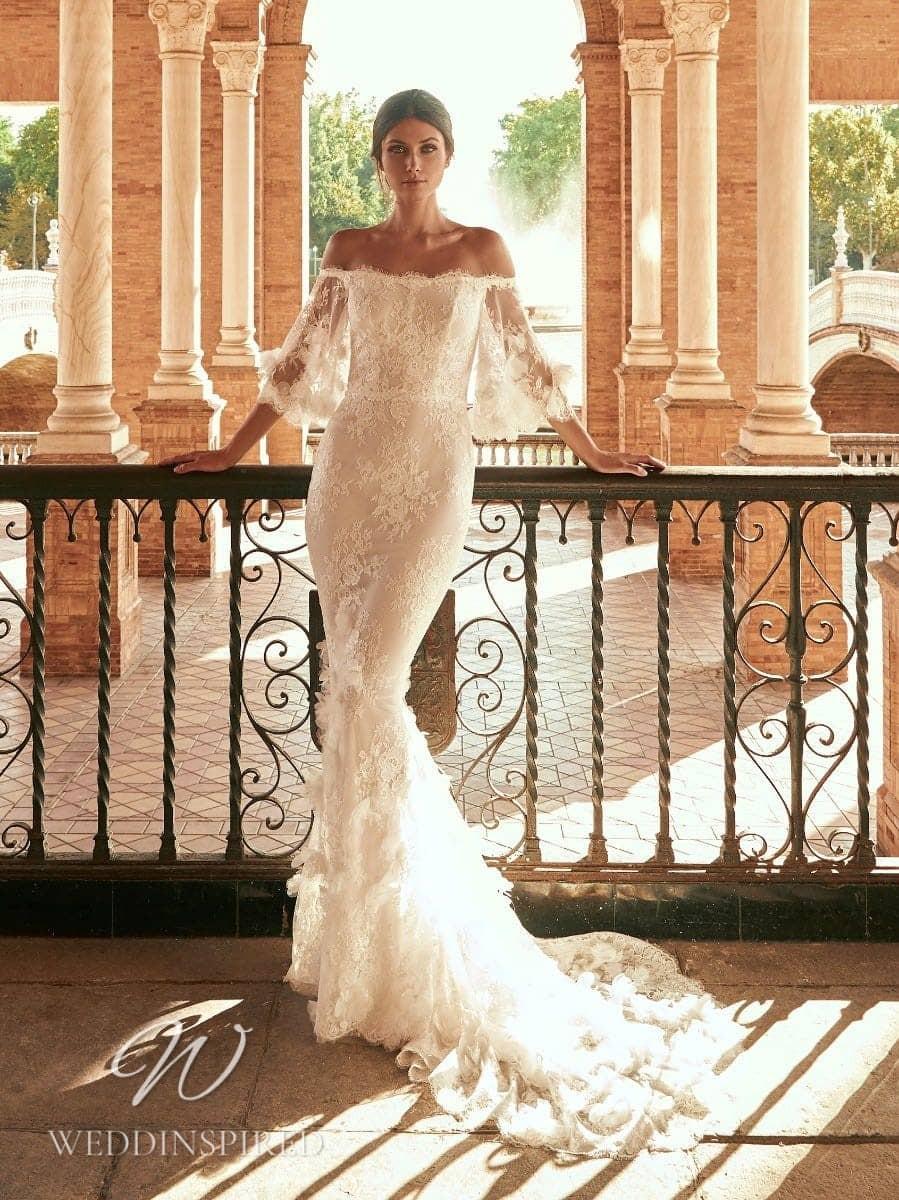 marchesa for pronovias 2022 wedding dresses paulanda lace off the shoulder mermaid long sleeves