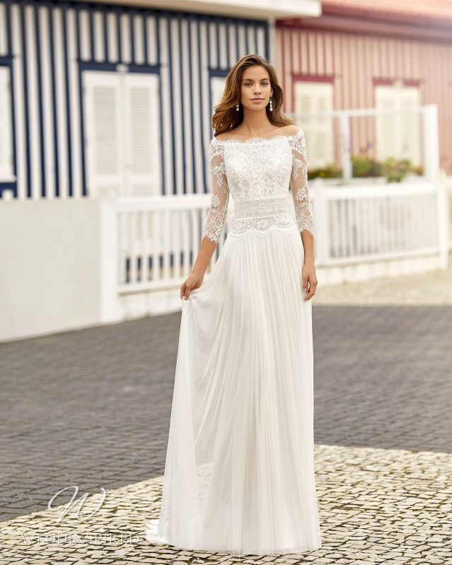 A Rosa Clara 2021 lace and chiffon off the shoulder A-line wedding dress