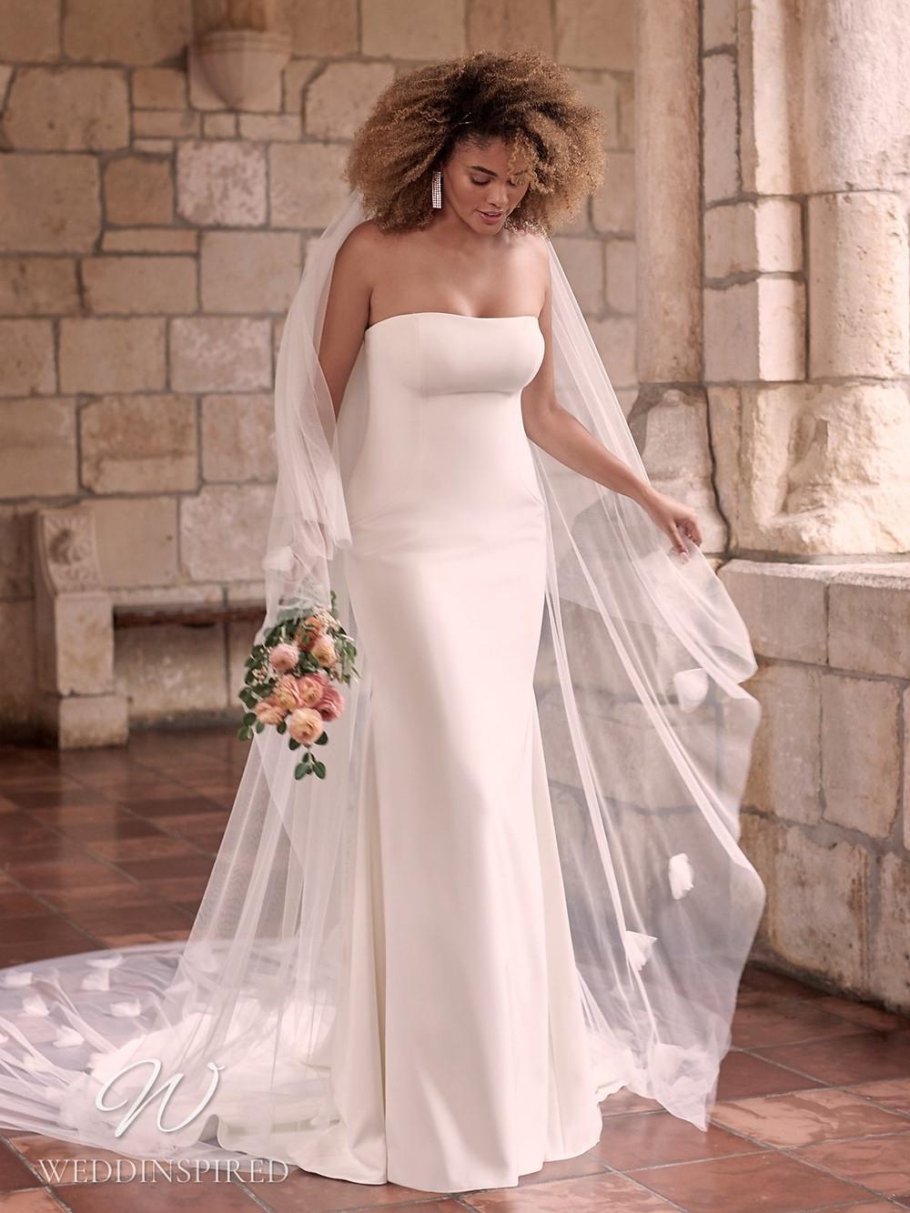 A Maggie Sottero Spring 2021 simple strapless satin mermaid wedding dress