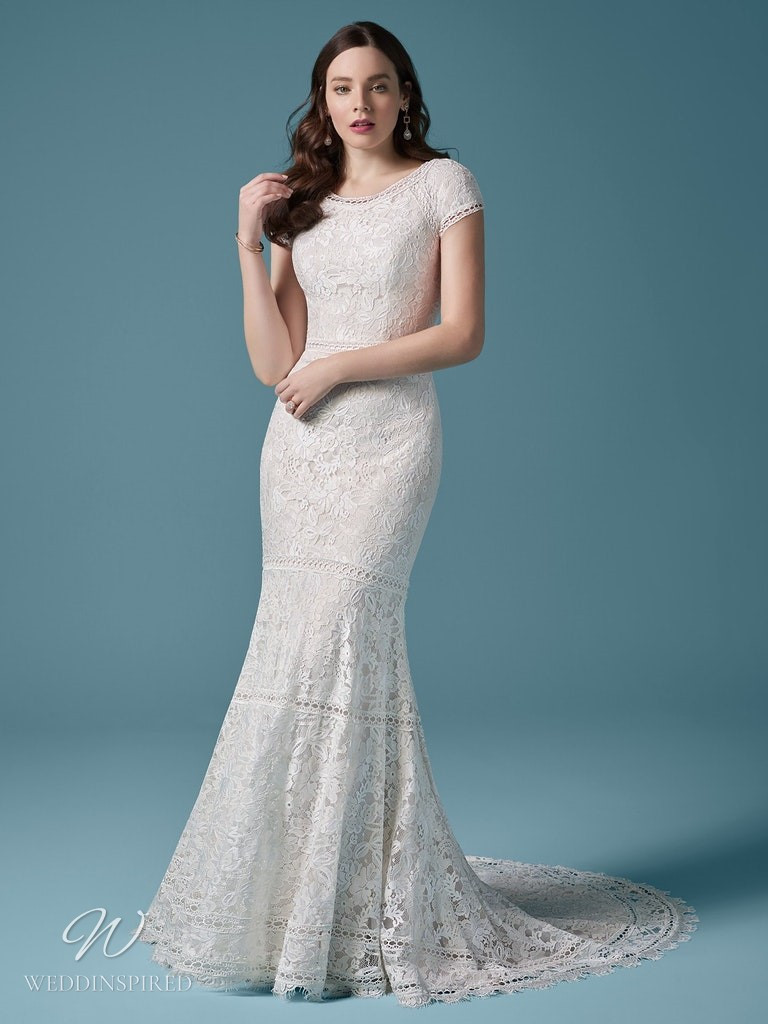 A Maggie Sottero 2021 lace mermaid wedding dress with cap sleeves