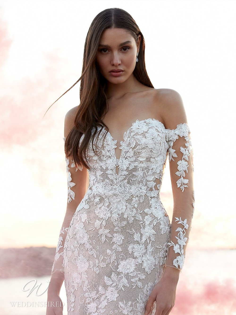 A Blue by Enzoani 2021 off the shoulder lace mermaid wedding dress with long sleeves