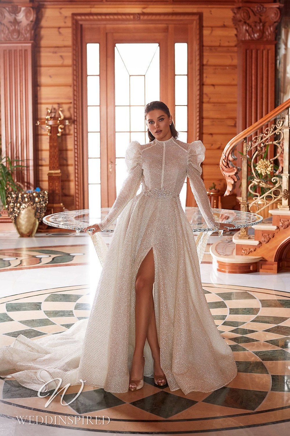 A Pollardi 2021 modest sparkly A-line wedding dress with long sleeves