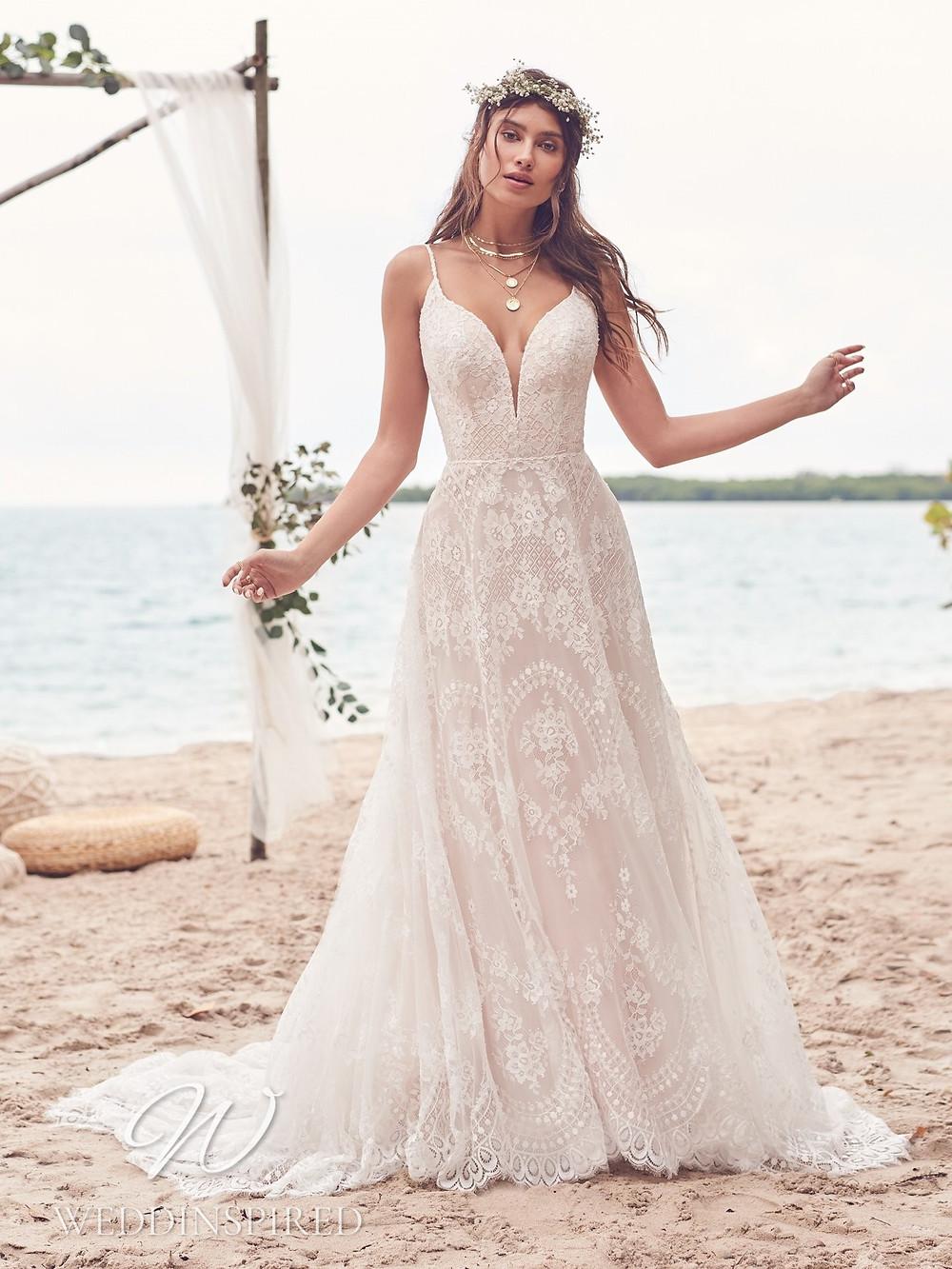 A Rebecca Ingram 2021 blush lace A-line wedding dress