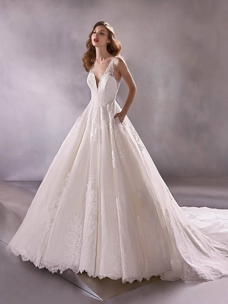 A Pronovias romantic lace ball gown wedding dress with pockets