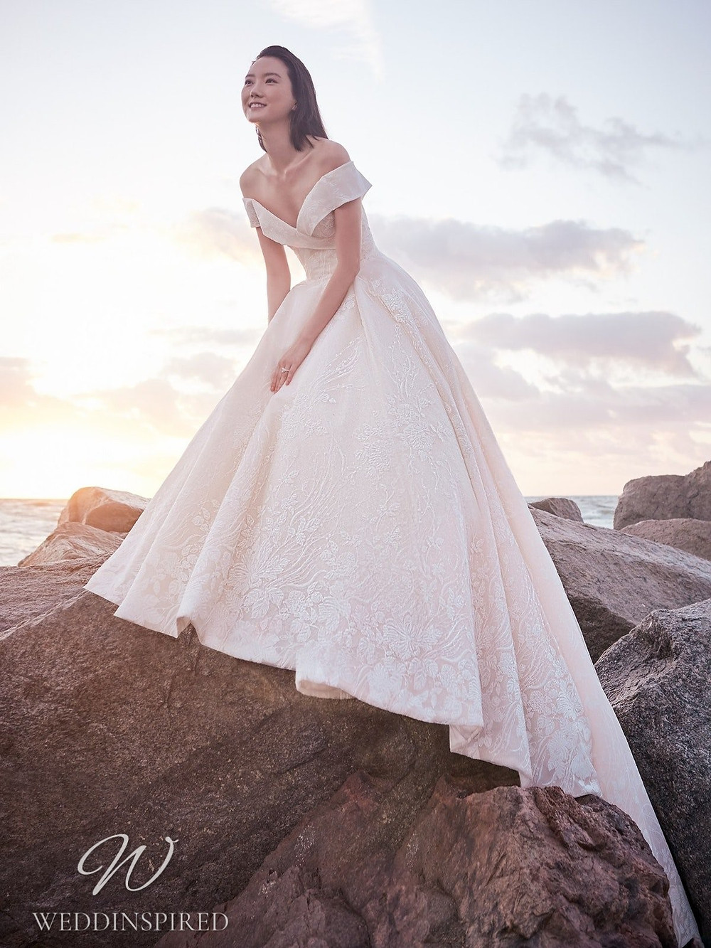 A Sottero & Midgley Spring 2021 blush off the shoulder A-line wedding dress with embroidery