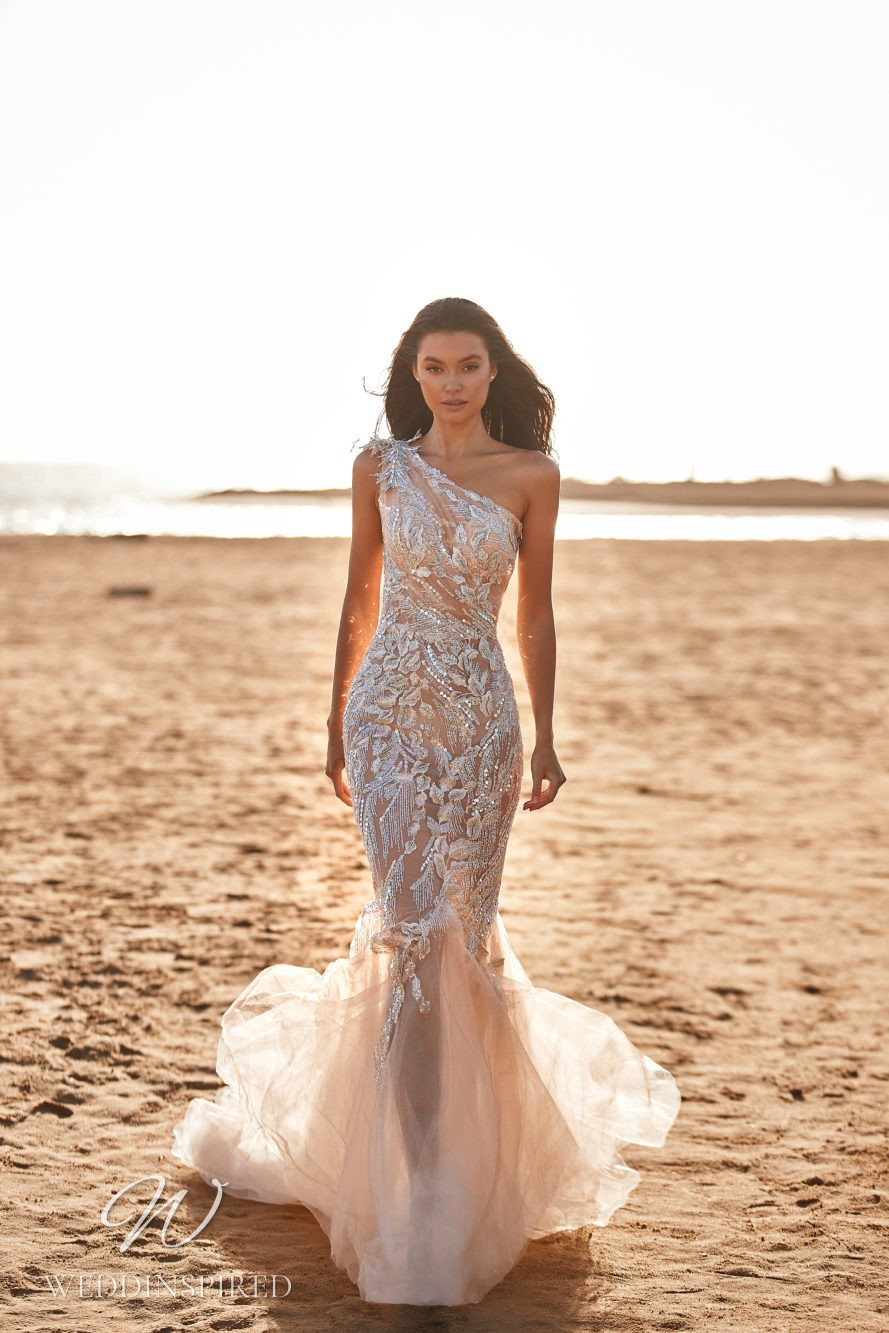 A Milla by Lorenzo Rossi 2021/2022 one shoulder sparkly blush tulle mermaid wedding dress
