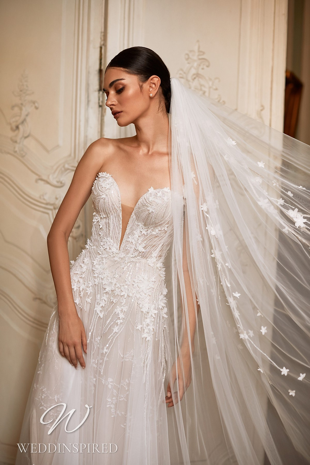 A Daria Karlozi 2021 strapless lace and tulle A-line wedding dress