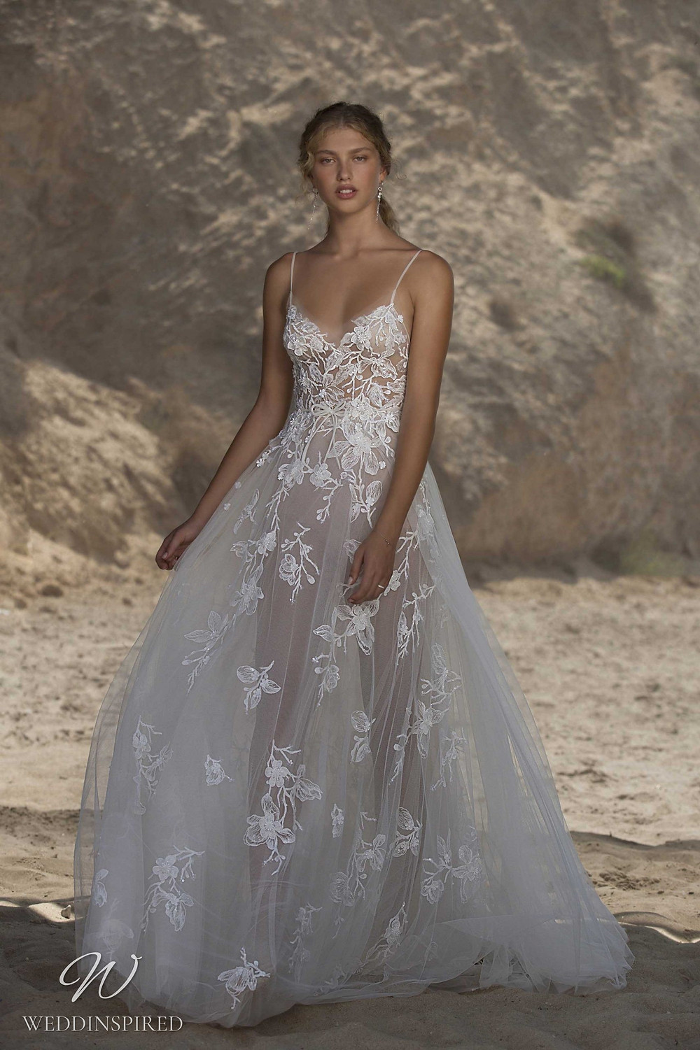 A Muse by Berta lace and tulle beach A-line wedding dress with straps