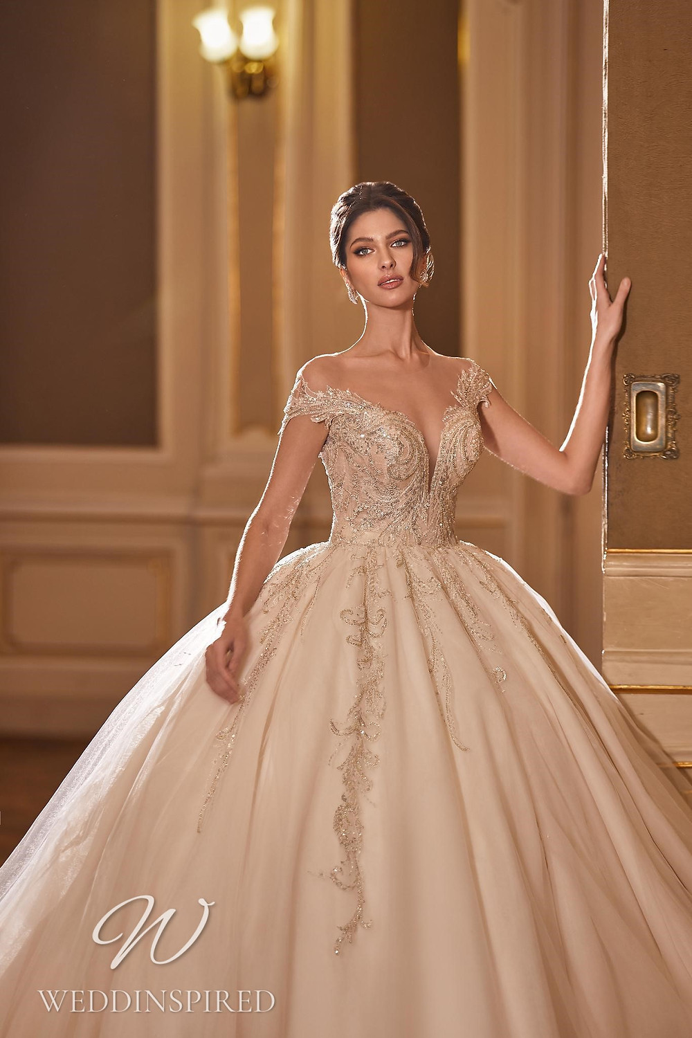 A Ricca Sposa 2022 blush off the shoulder tulle and lace princess wedding dress