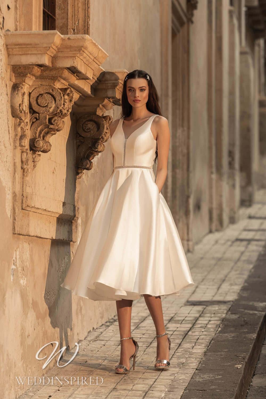 A Lussano 2021 ivory satin tea length wedding dress