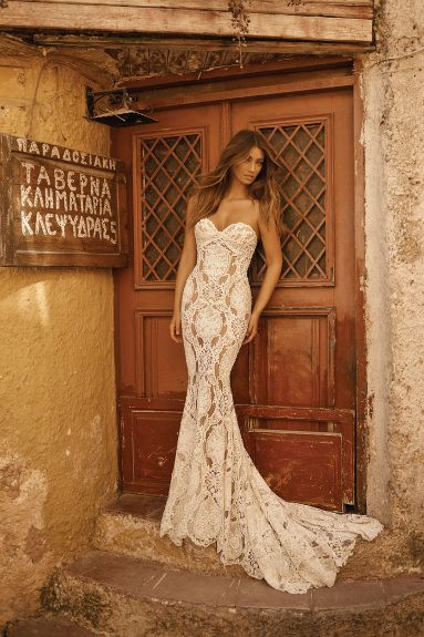 A Berta strapless lace mermaid fit and flare wedding dress