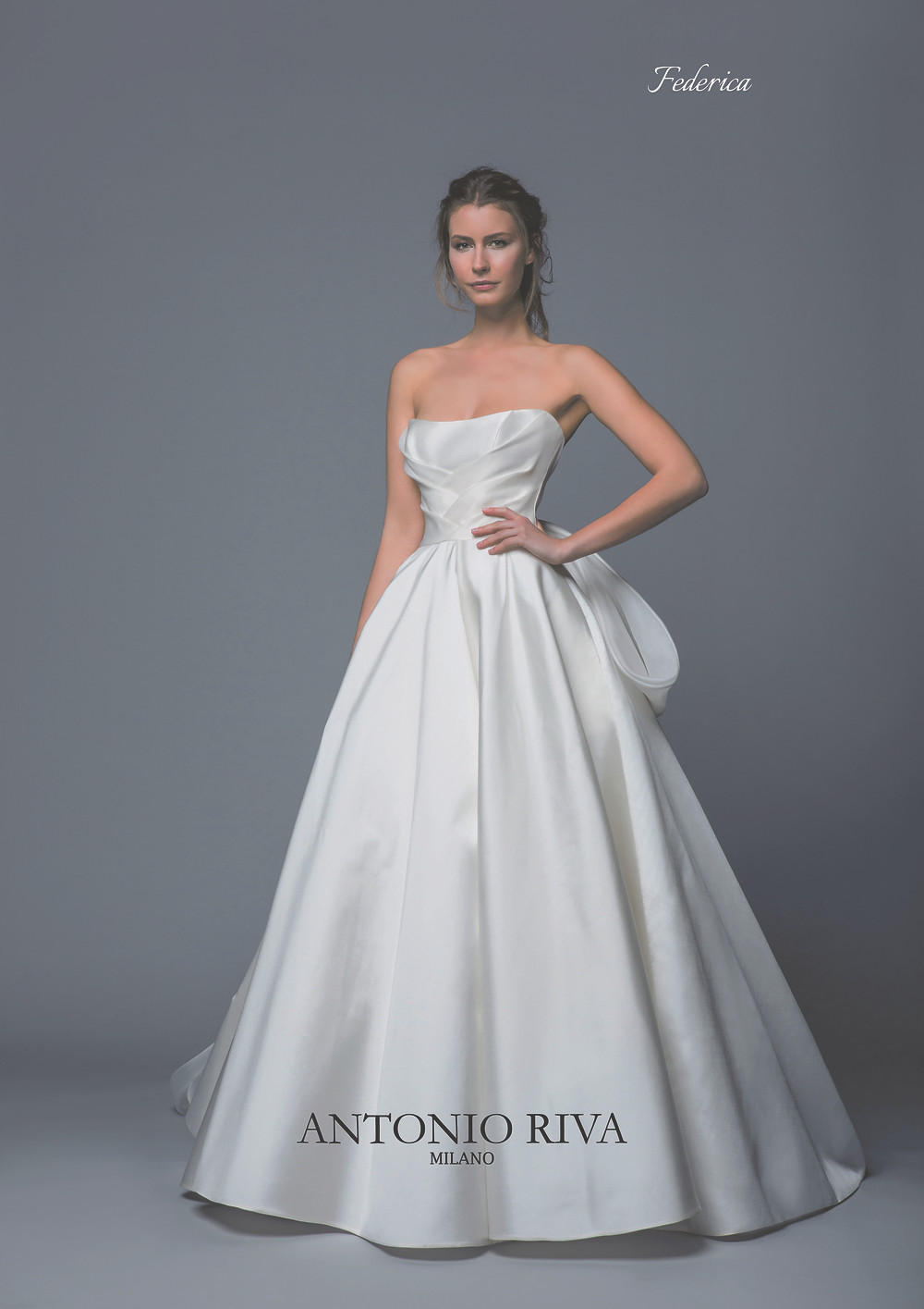 An Antonio Riva 2020 simple strapless silk ball gown wedding dress