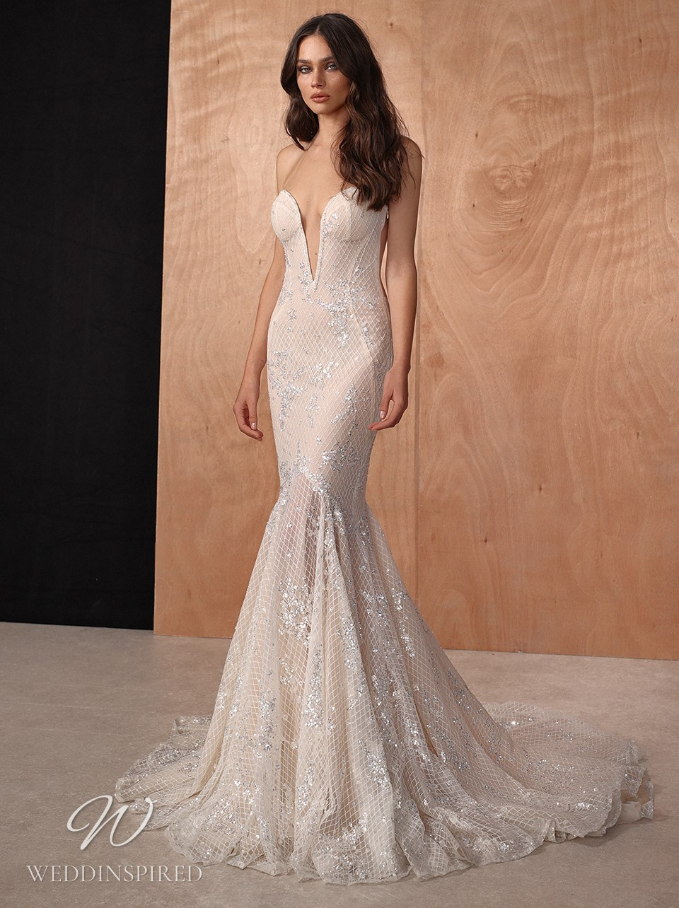 A Galia Lahav 2022 sparkly blush strapless mermaid wedding dress with a v neck