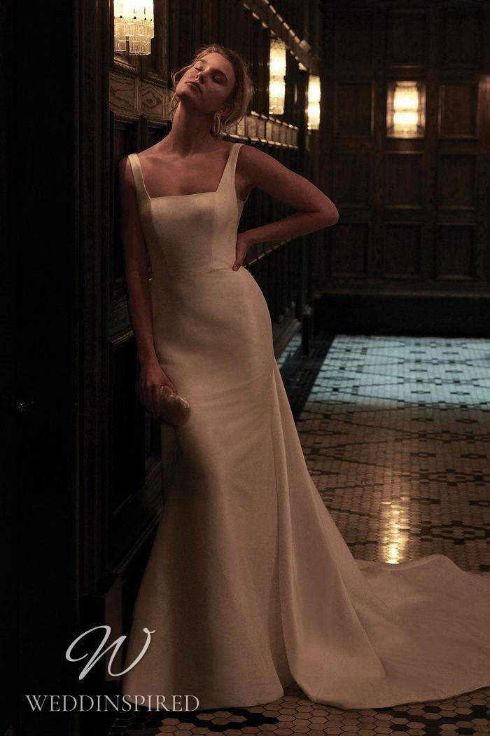 A Justin Alexander 2021 simple satin mermaid wedding dress
