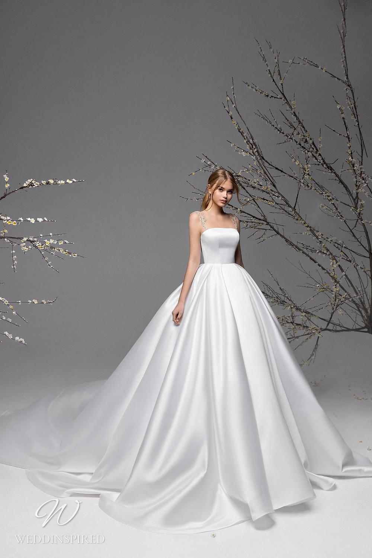 A Ricca Sposa simple silk satin ball gown wedding dress