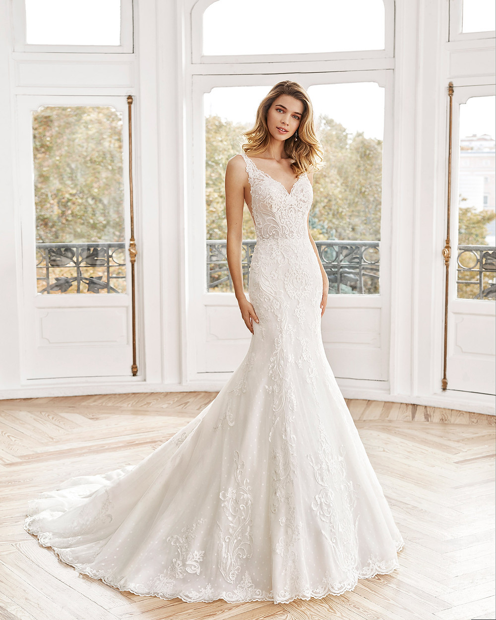 An Aire Barcelona 2020 romantic lace mermaid wedding dress with straps