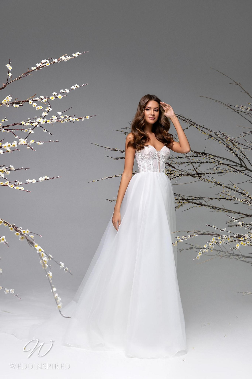 A Ricca Sposa strapless tulle A-line wedding dress