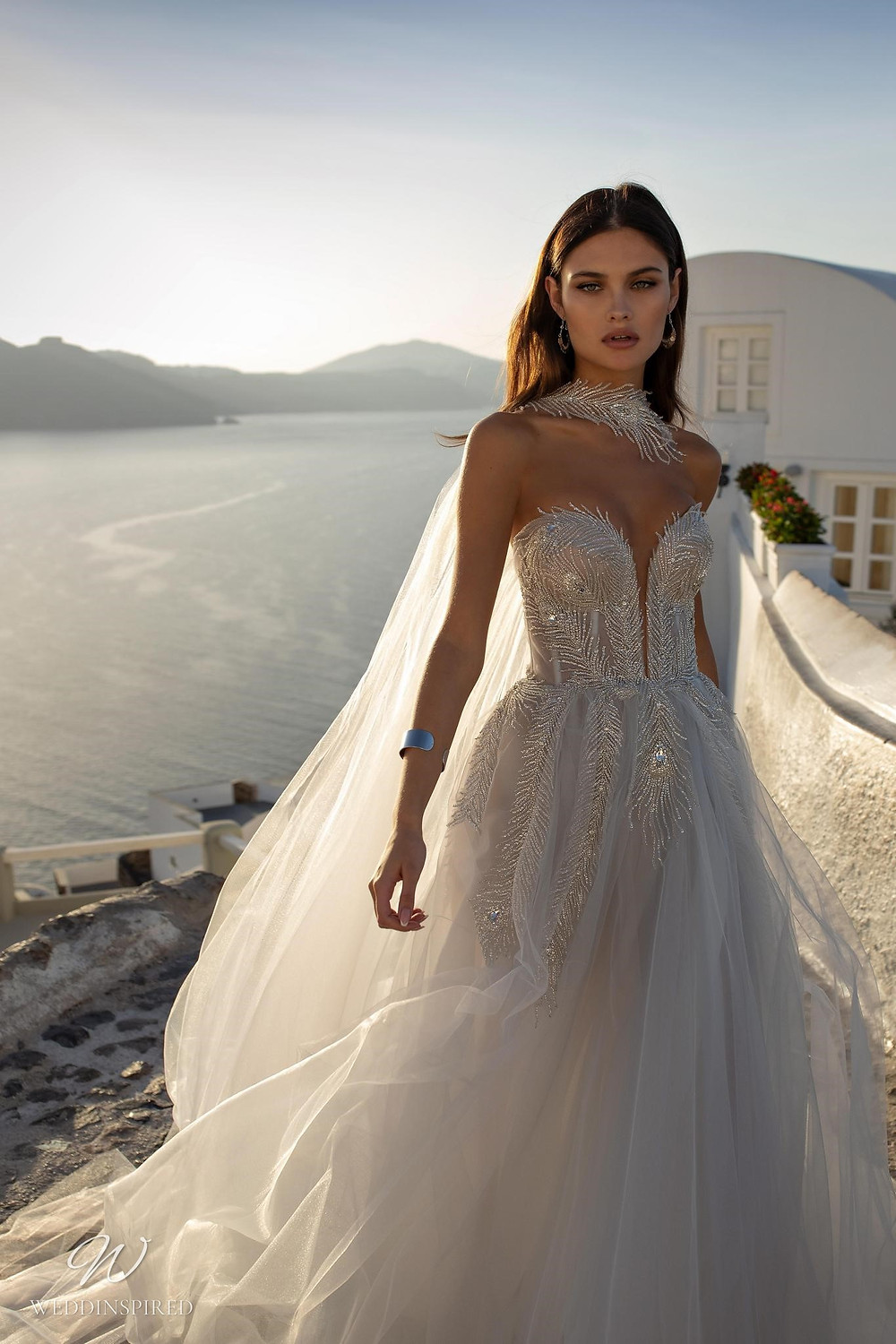 A Ricca Sposa sparkly strapless tulle ball gown wedding dress with feathers and crystals