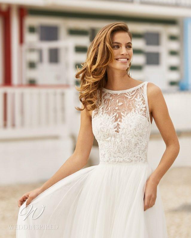 A Rosa Clara 2021 lace and chiffon A-line wedding dress
