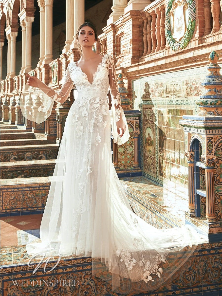 A Marchesa for Pronovias 2022 lace and tulle sheath wedding dress