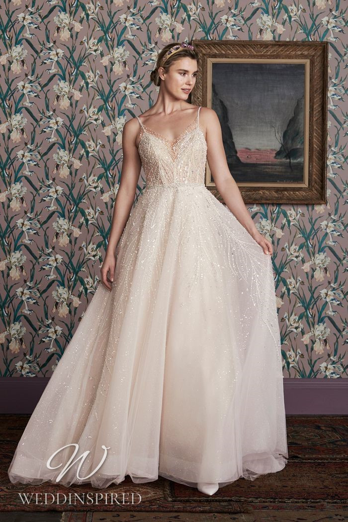 A Justin Alexander 2021 beaded tulle A-line wedding dress