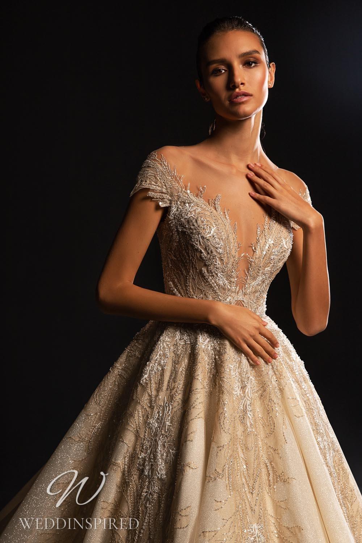A WONÁ Concept 2021 champagne off the shoulder princess wedding dress