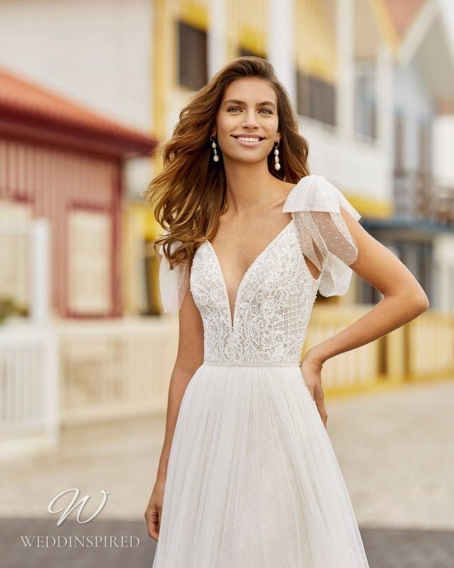 A Rosa Clara 2021 lace and tulle A-line wedding dress