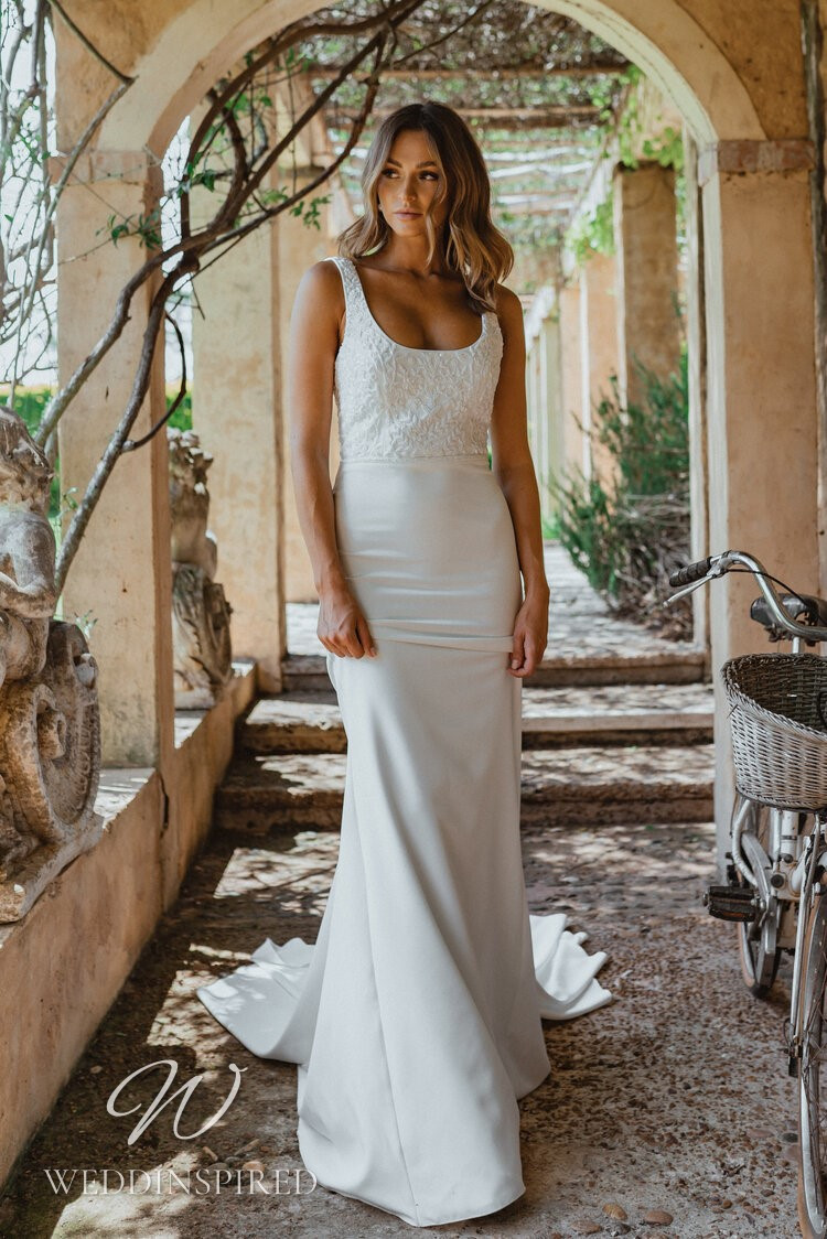 An Anna Campbell 2021 lace and crepe mermaid wedding dress