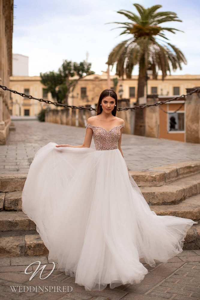 A Nora Naviano 2021 tulle off the shoulder A-line wedding dress