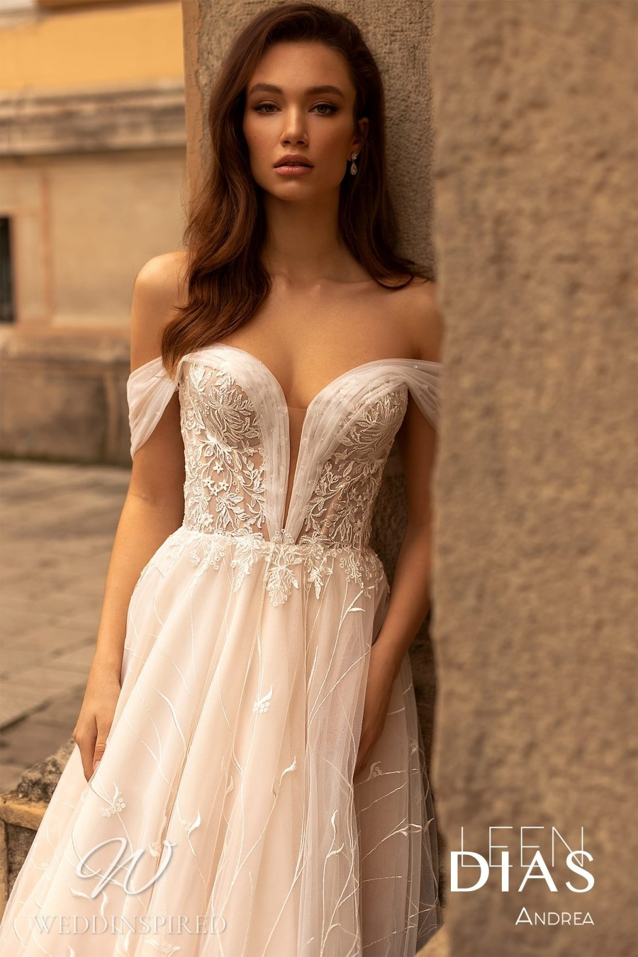A Leen Dias 2021 tulle off the shoulder A-line wedding dress