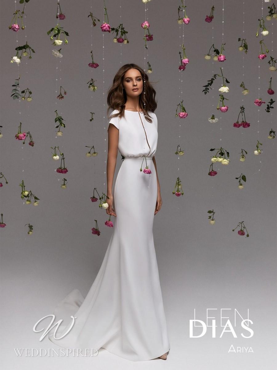 A Leen Dias 2021 simple satin sheath wedding dress