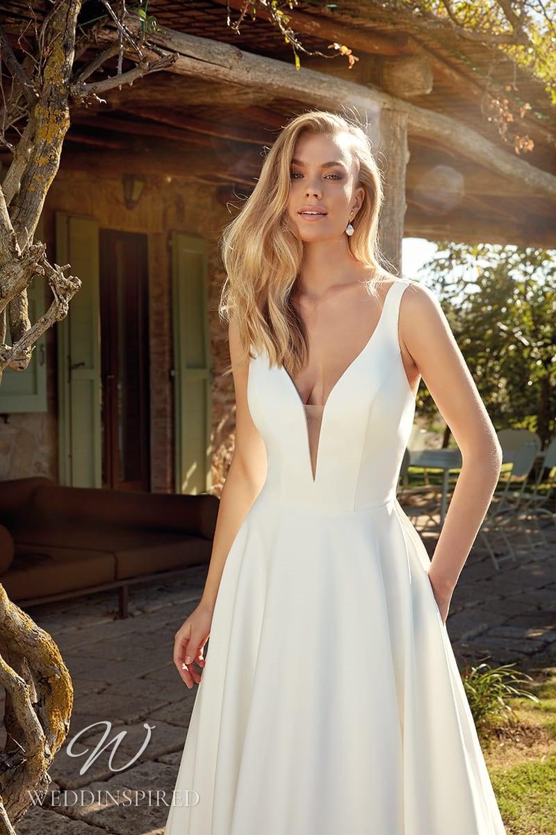 An Eddy K 2021 simple satin A-line wedding dress