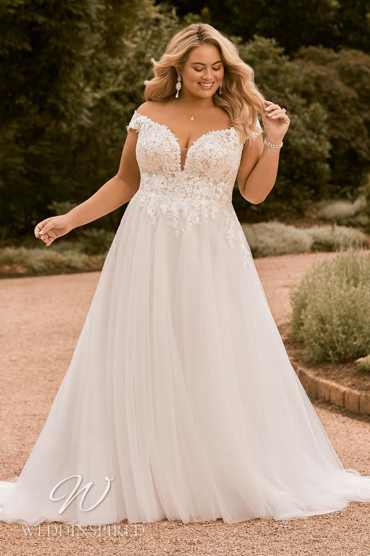 A Sophia Tolli 2021 plus size lace and tulle off the shoulder A-line wedding dress