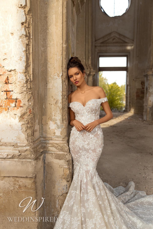 An Eva Lendel 2021 lace off the shoulder mermaid wedding dress