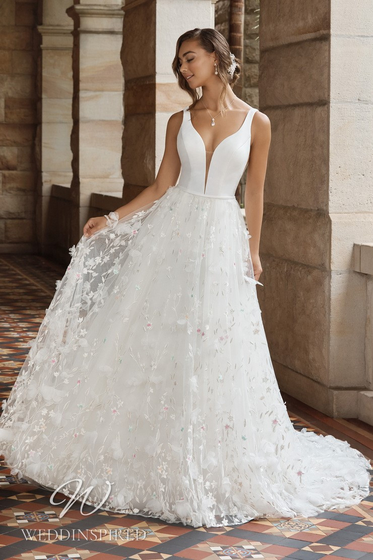 A Sophia Tolli 2021 tulle and satin A-line wedding dress