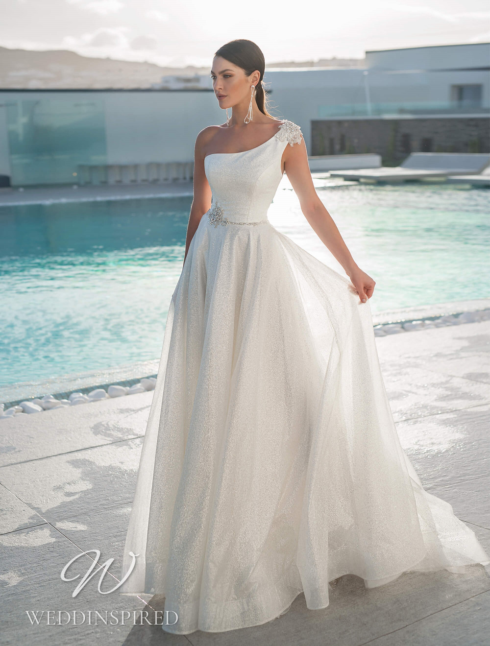 A Blunny 2021 one shoulder sparkly tulle A-line wedding dress