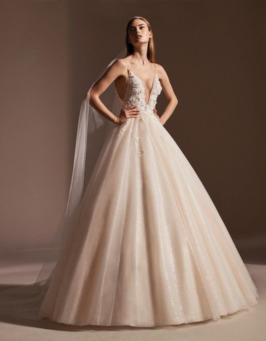 A Pronovias romantic blush princess ball gown wedding dress
