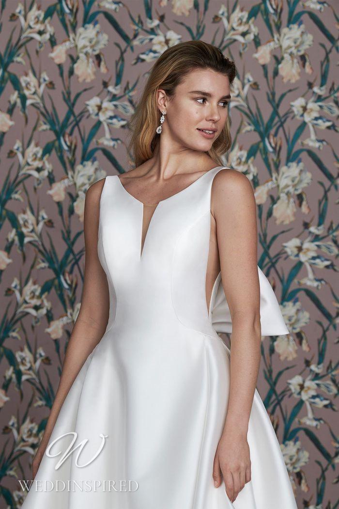 A Justin Alexander 2021 simple satin princess wedding dress