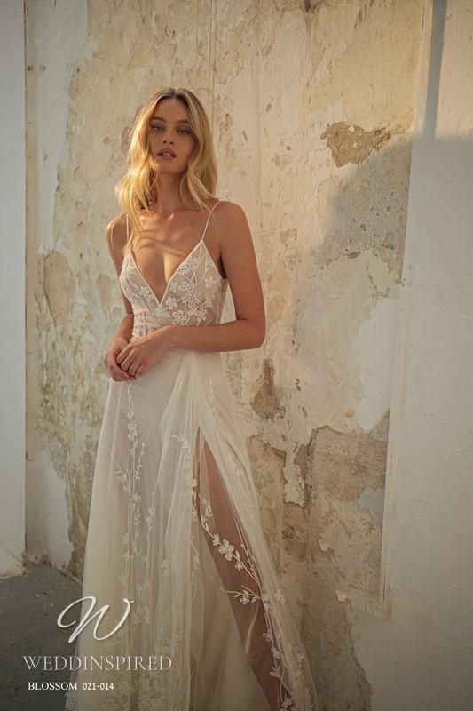 A Gali Karten 2021 flowy lace A-line wedding dress with thin straps