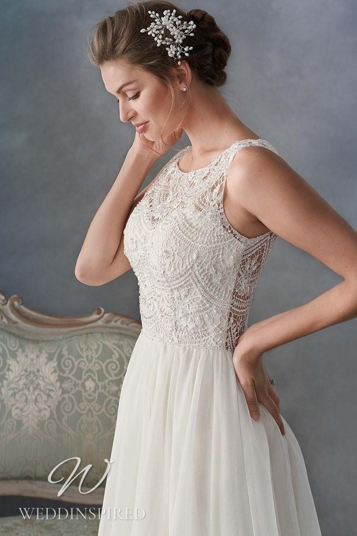 A Kenneth Winston 2021 lace and chiffon A-line wedding dress