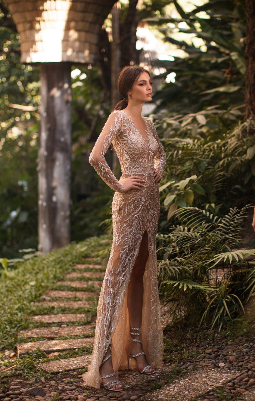 A sparkly tan sheath wedding dress, with long sleeves, low v neckline and crystals