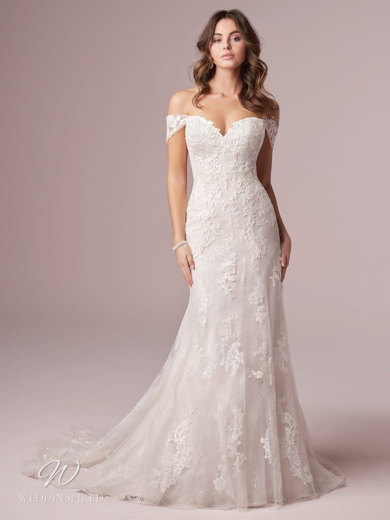 A Rebecca Ingram 2020 off the shoulder lace mermaid wedding dress