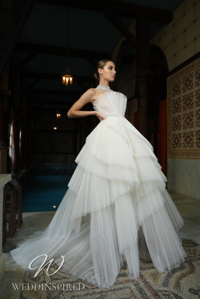 A Georges Hobeika 2021 strapless tulle princess wedding dress with a ruffle skirt