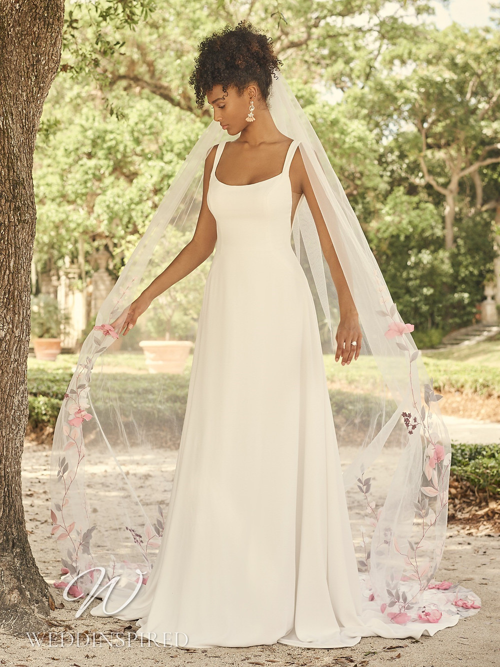 A Maggie Sottero 2021 simple satin A-line wedding dress