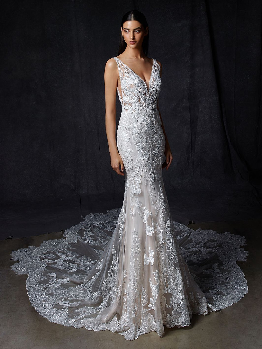 An Enzoani lace, v neck wedding dress with a long train