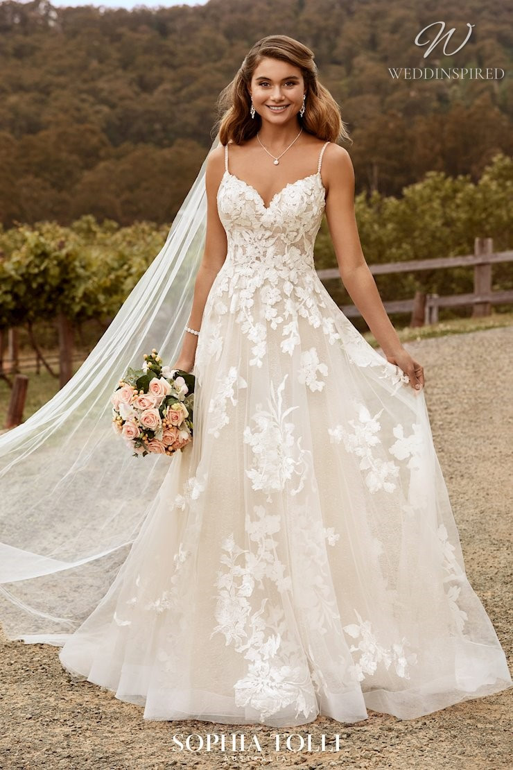 A Sophia Tolli lace and tulle A-line wedding dress