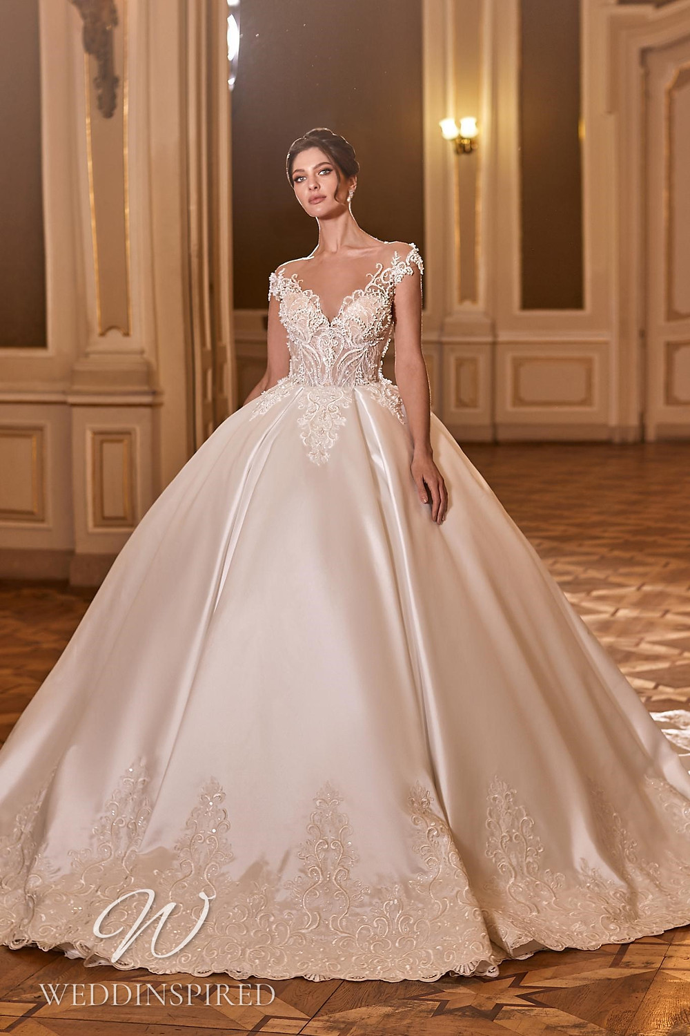 A Ricca Sposa 2022 off the shoulder satin and lace princess wedding dress