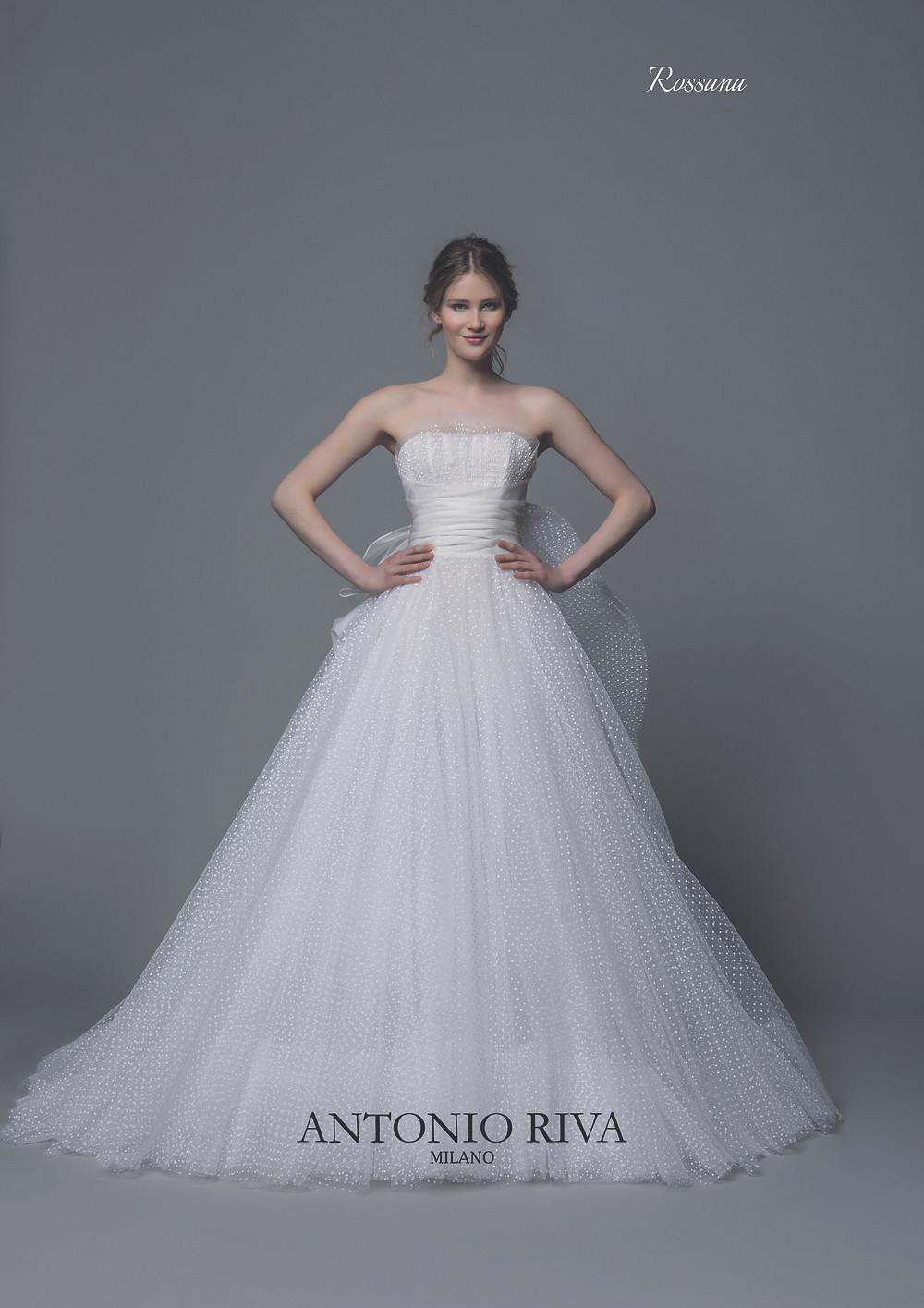 An Antonio Riva 2020 strapless polka dot tulle ball gown wedding dress